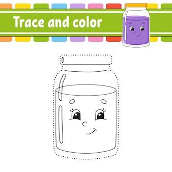 Traço e imagem colorida.