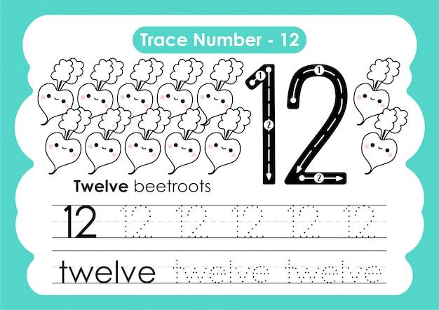 Traço número doze - para crianças do jardim de infância e pré-escola