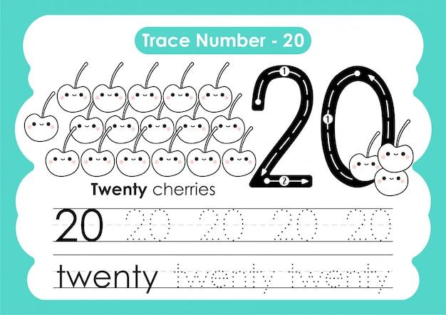 Traço número vinte - para crianças do jardim de infância e pré-escola