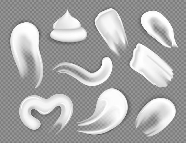 Traços de creme. conjunto de diferentes cremes cosméticos realistas em um fundo transparente, elementos de design de produto.