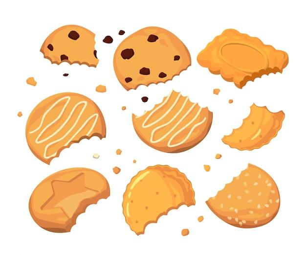 Traços de picadas nos biscoitos e migalhas pequenas diferentes