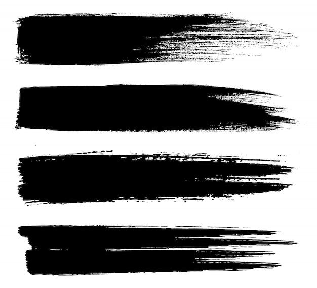 Traços de pincel de linhas de tinta preta