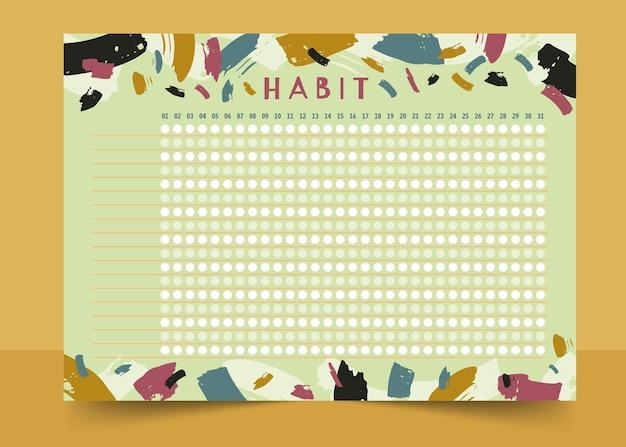 Traços de pincel do modelo do rastreador de hábitos