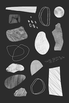 Traços de rabisco e coleção de elementos de design de texturas de pedra cinza