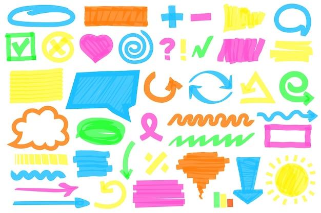 Traços do marcador de realce marcadores coloridos rabiscar caneta rabiscar quadros linhas marcas de seleção definidas