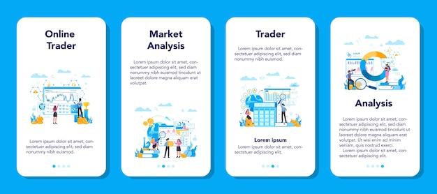 Trader, conjunto de banner de aplicativo móvel de investimento financeiro. compra venda