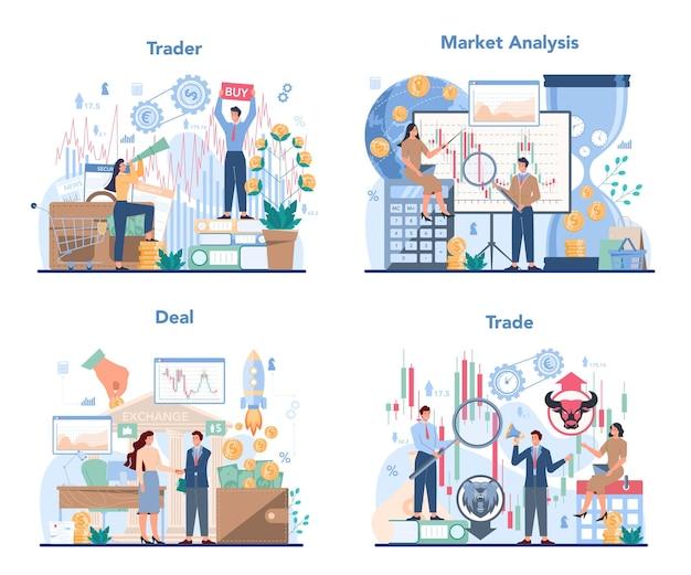 Trader, conjunto de conceito de investimento financeiro
