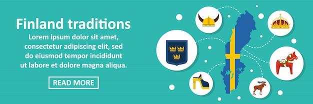 Tradições da finlândia banner conceito horizontal
