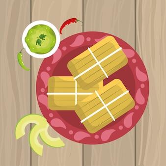 Traditiona comida mexicana com molho de abacate