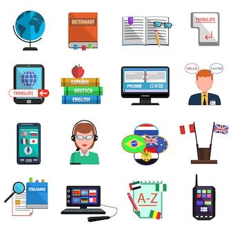 Tradutor multilíngue colorido conjunto de ícones plana