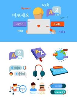 Traduzir ícones. tradução global do alfabeto de nacionalidades para imagens gráficas de vetor de serviços de aplicativos em língua estrangeira bilíngüe. comunicação bilíngüe, ilustração do discurso do inglês estrangeiro e alemão