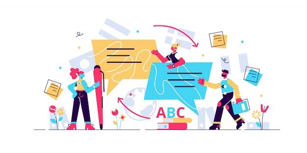 Traduzir ilustração. conceito de apartamento mini pessoas. conhecimento de linguagem e conversação usando dicionário. documentos multilíngues e educação em fala estrangeira. trabalho em equipe de negócios de cultura internacional