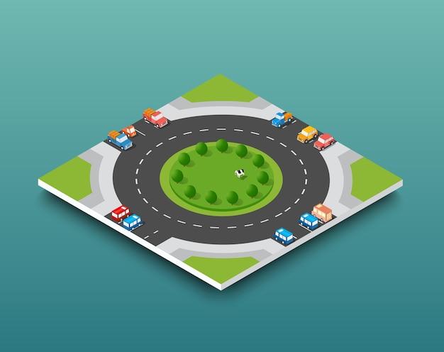 Tráfego da auto-estrada isométrica da cidade na rua