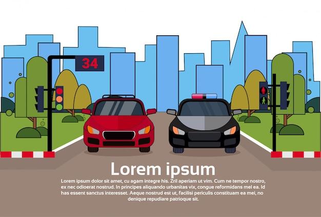 Tráfego rodoviário, com, veículo polícia, e, car, ligado, rua, sobre, edifícios cidade
