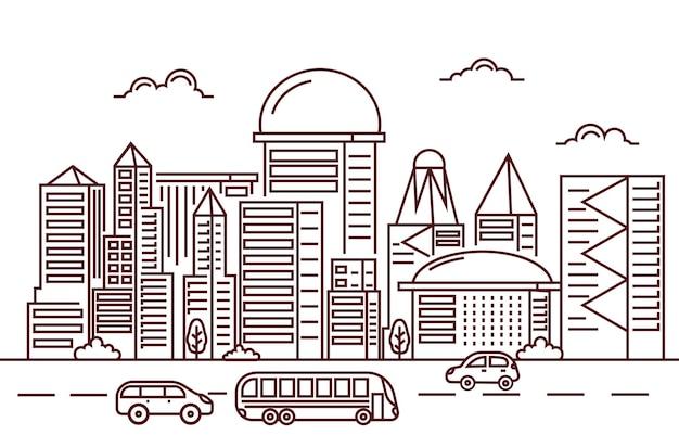 Traffic modern city skyscraper building cityscape linha de ilustração