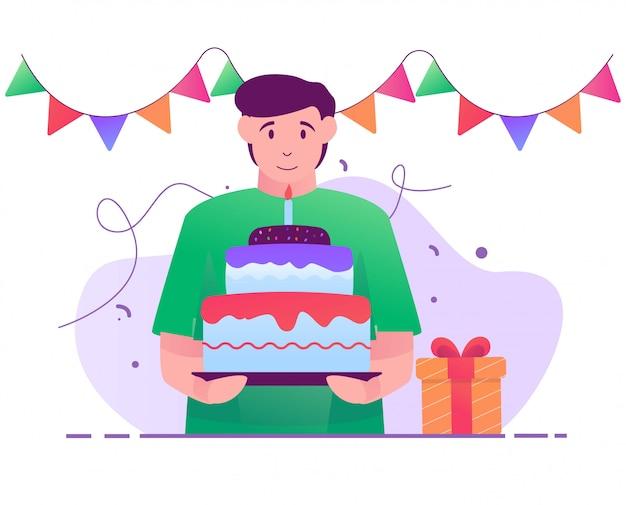 Traga a ilustração plana da festa de aniversário do bolo