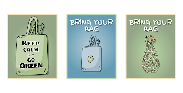 Traga sua própria bolsa todos os dias conjunto de cartazes.