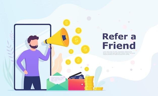 Traga um amigo, um homem com gritos de megafone recomenda a um amigo, compartilhando informações e ganhando dinheiro.