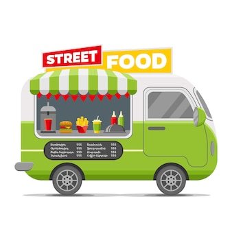 Trailer de caravana de vetor de comida de rua rápida