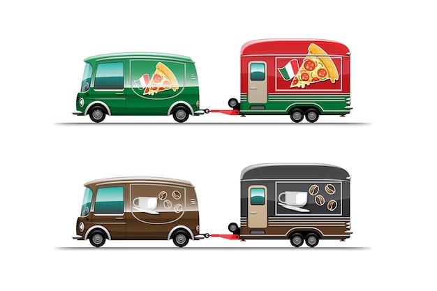 Trailer food truck de pizza e café em fundo branco, ilustração