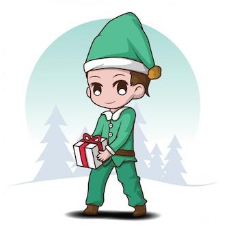 Traje bonito do duende do menino desenhos animados., desenhos animados do natal.