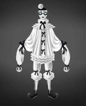 Traje branco pierrot com arcos pretos e pompons nas mangas compridas