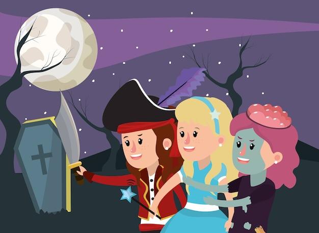 Traje de crianças na noite de halloween