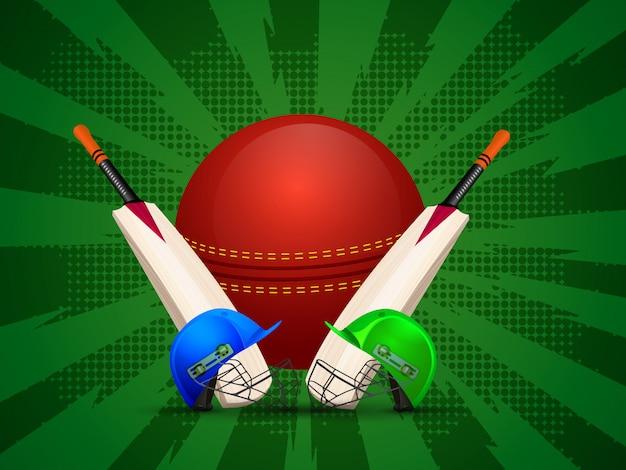 Traje de críquete com bola e morcegos
