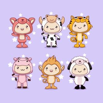Traje de desenhos animados de animais kawaii
