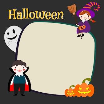 Traje de halloween de crianças com papel em branco.