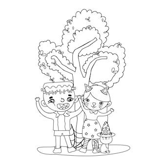 Traje de menino e menina de contorno com gato e árvore