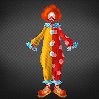 Traje de palhaço com sapatos grandes e engraçados, peruca vermelha, máscara facial e nariz vermelho