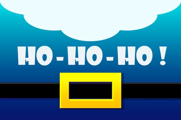 Traje de papai noel azul, cartão de felicitações de vetor. ho-ho-ho. ilustração feliz ano novo e feliz natal