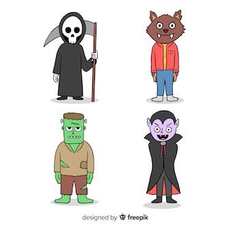 Traje de personagem de halloween de mão desenhada