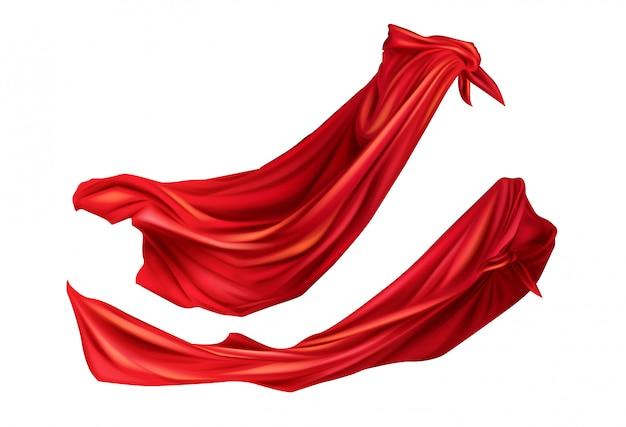 Traje de super-heróis de capas vermelhas com capuzes definido.