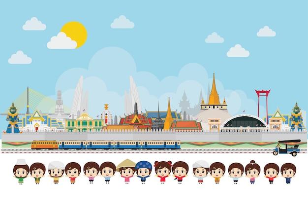 Traje tradicional de crianças asiáticas, comemorando na tailândia