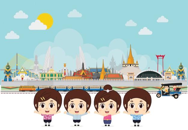 Traje tradicional de crianças para comemorar na tailândia