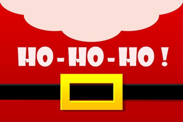 Traje vermelho de papai noel, cartão de felicitações de vetor. ho-ho-ho. ilustração feliz ano novo e feliz natal