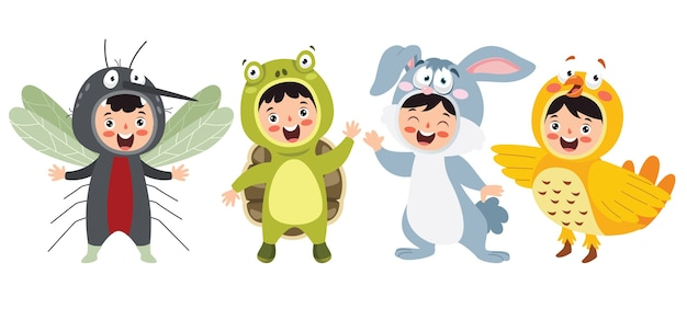 Trajes de animais engraçados para crianças