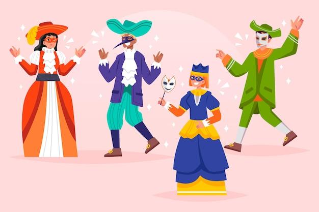 Trajes de carnaval veneziano desenhados à mão