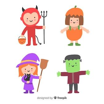 Trajes de criança de halloween de personagem de mão desenhada