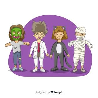 Trajes de crianças desenhadas mão halloween personagem