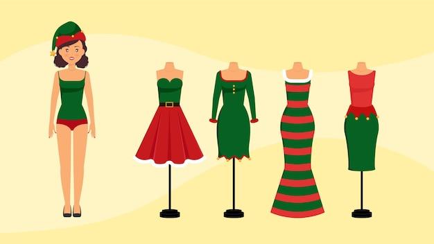 Trajes de elfo vestidos femininos de natal