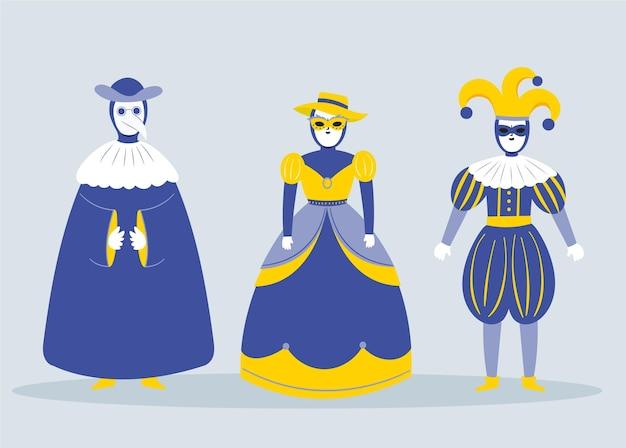 Trajes de personagens do carnaval italiano em azul e dourado
