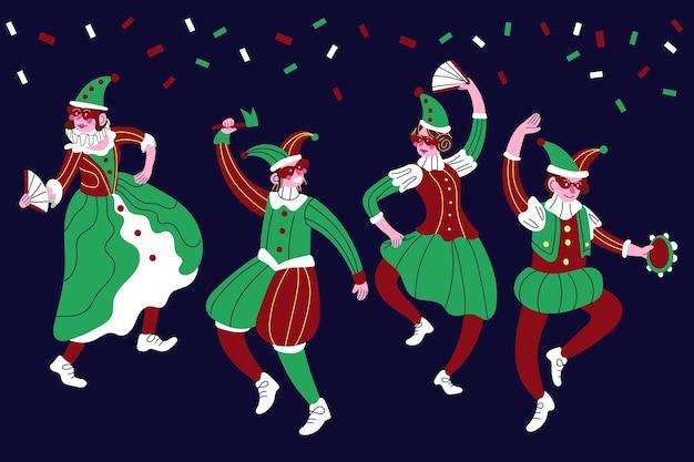 Trajes de personagens do carnaval italiano em vermelho e verde