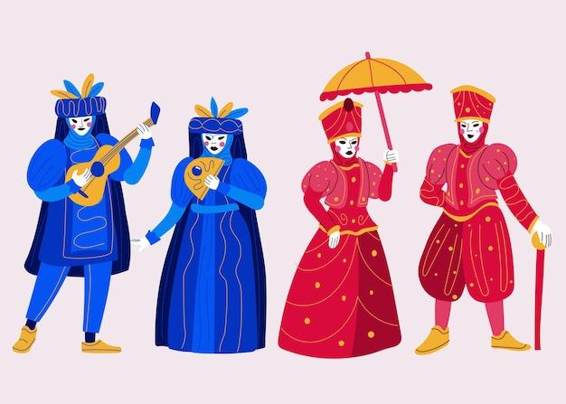 Trajes de personagens do carnaval veneziano escuro em azul e vermelho