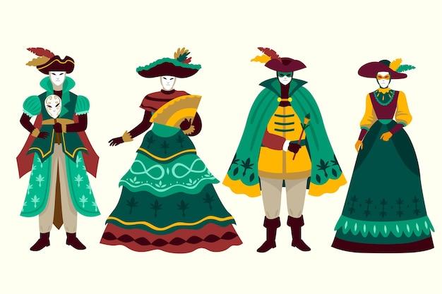 Trajes elegantes de personagens do carnaval veneziano