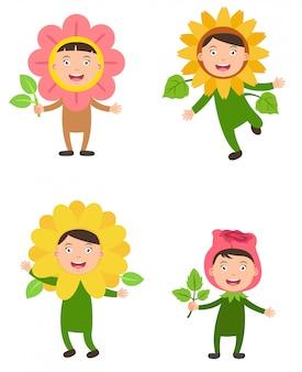 Trajes flor crianças vector