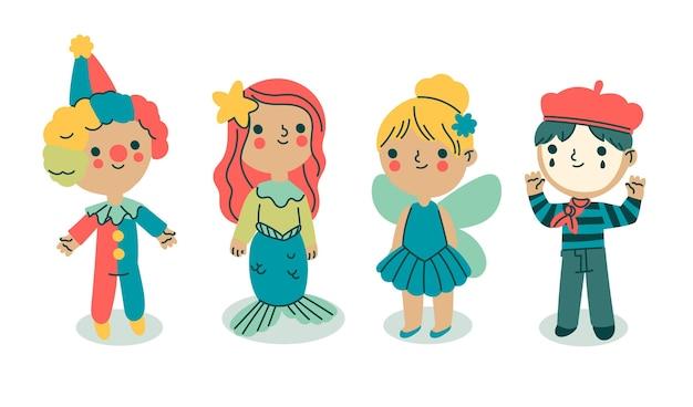 Trajes infantis de carnaval de desenhos animados isolados no fundo branco