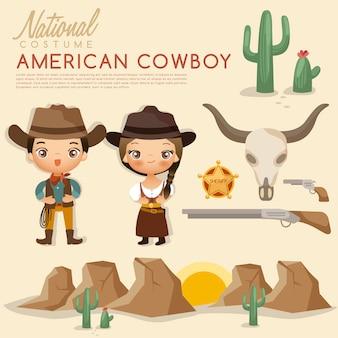 Trajes tradicionais do cowboy americano tribal.